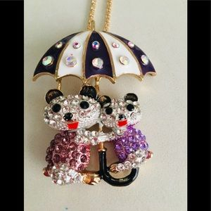 Crystal studded Mama Baby Bear Umbrella Necklace